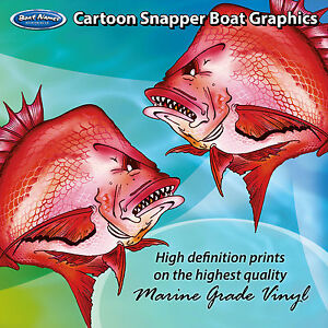 Cartoon Snapper Graphics - set of 250mm Boat Graphics