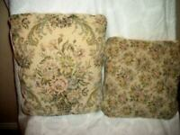 FRENCH FLORAL TAPESTRY PILLOWS PINK SATIN MOIRE BACKS VINTAGE MID CENTURY