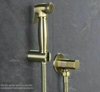 Round Toilet Brass Bidet Brushed Gold Handheld Spray/&Hose/&Shut Valve Holder Kit