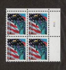 2005 Flag & Liberty Sc 3965 forever rate MNH plate block Scarce issue!