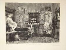 GRANDE EAU FORTE VAN ELVEN MONGIN VUE CABINET ALEXANDRE DUMAS LITTÉRATURE 1870