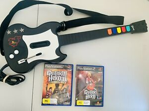 Playstation 2 PS2 Guitar Hero Black Red Octane PSLGH Wired Controller + 2 Games