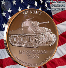 M4 Sherman TANK - Army back 1 oz .999 Copper Round Limited & Rare (Not minted)