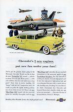 1950s Vintage print ad Car Chevrolet Bel Air 4 door Sedan yellow Jets car art ad