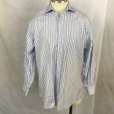 Hickey Freeman Mens L/S Button Front Dress Shirt Sz 15 1/2 - 33 Striped Cotton