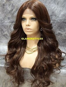 LACE FRONT FULL WIG LONG WAVY LAYERED BROWN AUBURN MIX HEAT OK #P4.27.30 NWT