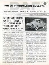 DAF  Press Bulletin  Sedan  1959