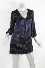 MYNE Womens Navy Blue Long-Sleeved Polka-Dot Above-Knee V-Neck Silk Mini Dress P