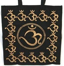 "Om Tote Bag  Gold/Black  18"" x 18"""
