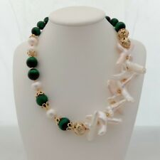 19'' Green Tigers Eye White Cross Pearl Keshi Pearl Necklace
