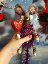 needle felted Valentine mouse handmade doll collectible ooak mice heart Purple