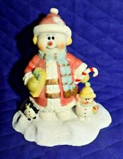 Estate=Christmas Decor, Snowman with Child and Penguin Friend, Adorable Look
