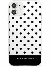 Black & White Polka Dots Personalised Slim TPU Case for iPhone Custom Spots