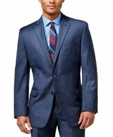 Calvin Klein Mens Blazer Navy Blue Size 42 Notched Classic Fit Wool $425 290