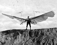 New 8x10 Photo: German Aviation Pioneer Otto Lilienthal with his Soaring Glider