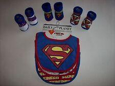 Superman Bib Booties Sock Set Baby Boys Girls 0-12 Mos OSFM Asstd DC Comics NWT