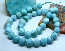 RARE CARIBBEAN BLUE LARIMAR ROUND SPHERE BALL BEADS 10-11mm 349cts AAA