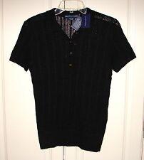 NWT Ralph Lauren Blue Label black linen short sleeve polo sweater M