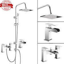 3 Way Square Shower Rigid Riser Kit Waterfall Bath Shower Mixer Tap & Basin Tap