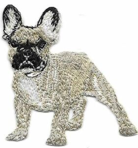 """3"""" x 3"""" Blonde Fawn French Bulldog Full Body Dog Breed Embroidery Patch"""