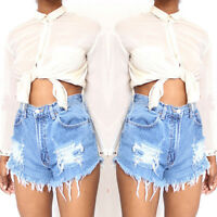 Women's High Waist Stripped Short Jeans Denim Pants Beach Summer Shorts HOTPANTS
