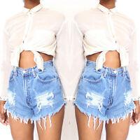 Women's Summer Blue Sexy Jeans Denim High Waisted Shorts Hotpants Short Trousers