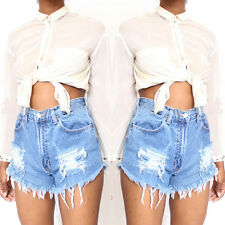 2017 Summer Women High Waist Stripped Short Jeans Denim Hot Beach Pants Shorts