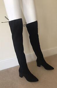 KURT GEIGER WOMEN'S OVER THE KNEE BOOTS BLACK COLOUR FAUX LEATHER UK 6 EU 39