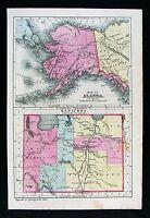1881 Bradley Map Alaska Yukon River & Manitoba Canada Sitka Winnipeg Arctic Sea
