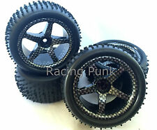 1/10 RC Nitro Electric Car Buggy Off Road Wheels Studded Tyres x 4 CARBON PRINT