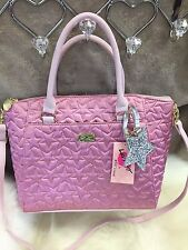 NEW! Betsey Johnson Satchel Pink Silver Quilted Stars Large Shoulder Bag Purse