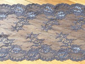 "laverslace - Pewter Grey Delicate Tulle Wide Stretch Lace Trim 6.5""/17.5 cm"