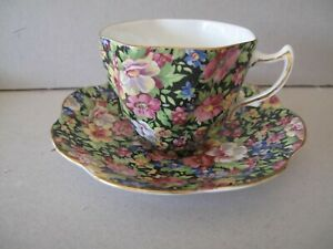 RARE BLACK CHINTZ CUP AND SAUCER BY ROSINA ENGLAND