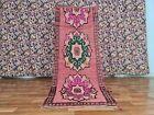 Vintage Moroccan Berber Azilal Runner Rug 2ft10x7ft4 Handmade Wool Floral Design
