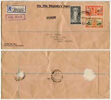 NEW ZEALAND to KENYA AIRMAIL REGISTERED OHMS GPO ENVELOPE 1947