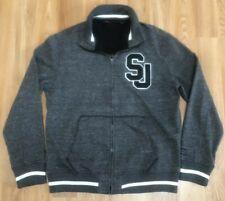 Sean John Mens Full Zip Up Track Varsity Jacket SJ Logo Black Gray, Size Large