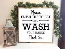 FLUSH THE TOILET & WASH YOUR HANDS  farmhouse toilet ,bathroom Print 20 x 20 cm