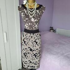 Twiggy Para M&S Mujer Muy Elástico Forrado Calce Ajustado Vestido Largo Hasta La Rodilla Size UK 24