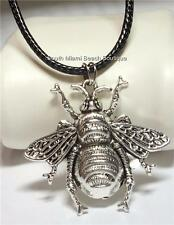 "Silver Bumble Bee Necklace Plated Burnished Adjustable Insect Queen Bea 20"" USA"