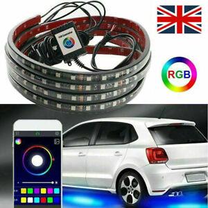 4X RGB LED Neon Strip Light Kit Under Car Tube Underglow Atmosphere App Control