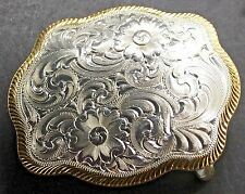 Montana Silvermiths Women Belt Buckle Floral Etching Silver  Gold T Accents