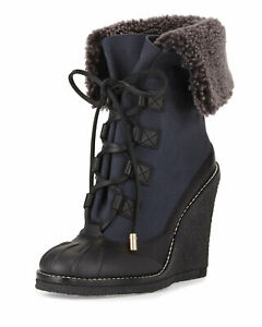 Stunning black and navy Tory Burch Fairfax fur lined wedge boots 6