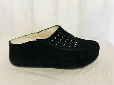 Kelton Made In Italy Suede Leather Rhinestone Mule Slide Shoe Black Size 7