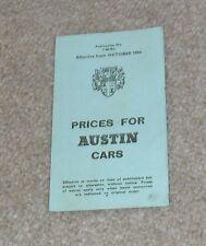 Austin Price List 1964 Mini Deluxe Cooper S A40 A60 Cambridge 1800 Healey 3000