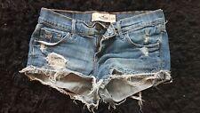 Hollister Women's Distressed Denim Jean Shorty Shorts Cut Off Women's Size 3