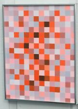 ABSTRACT OIL PAINTING SIGNED GEOMETRIC OP ART CHECKERBOARD SWAG MID CENTURY