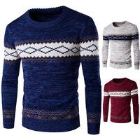 uomo manica lunga lavoro a maglia maglione pullover invernale casual