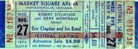 ERIC CLAPTON 1975 TOUR UNUSED MARKET SQUARE CONCERT TICKET-INDIANAPOLIS