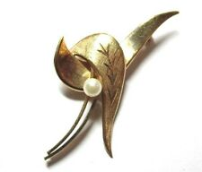 Vintage 12K GF Gold Filled Signed Faux Pearl Floral Leaves Pin Brooch G318