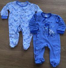 2 x B&M Baby Boy's White & Blue 'Me Best Friend' Babygrows Sleepsuits 3-6 Months